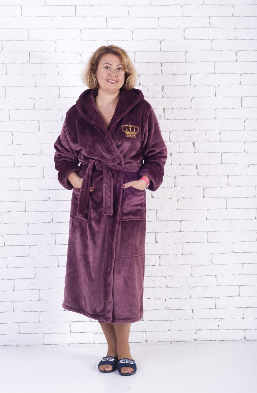 37ee781baa979 Женский длинный однотонный махровый халат с капюшоном - Farca Shop в Днепре