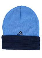 Шапка спортивная adidas Perf 3s AB0362 (цвет синий с голубым, с разворотом, акрил, зимняя, с логотипом адидас)