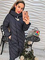 Женское зимнее пальто  с капюшоном, декорировано шикарной брошью, 2 цвета