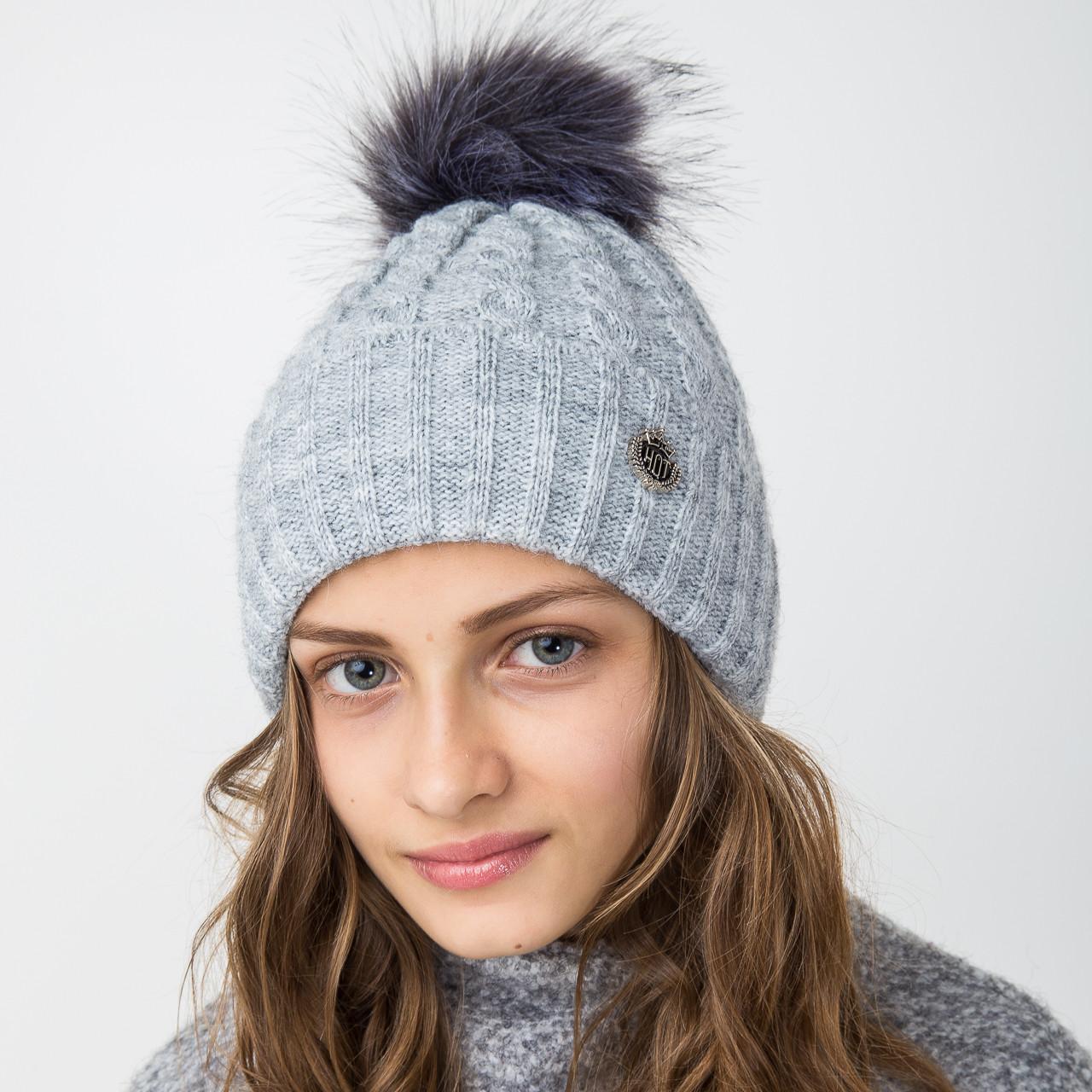 Вязанная зимняя шапка с меховым помпоном для девочек - Артикул 2122-3