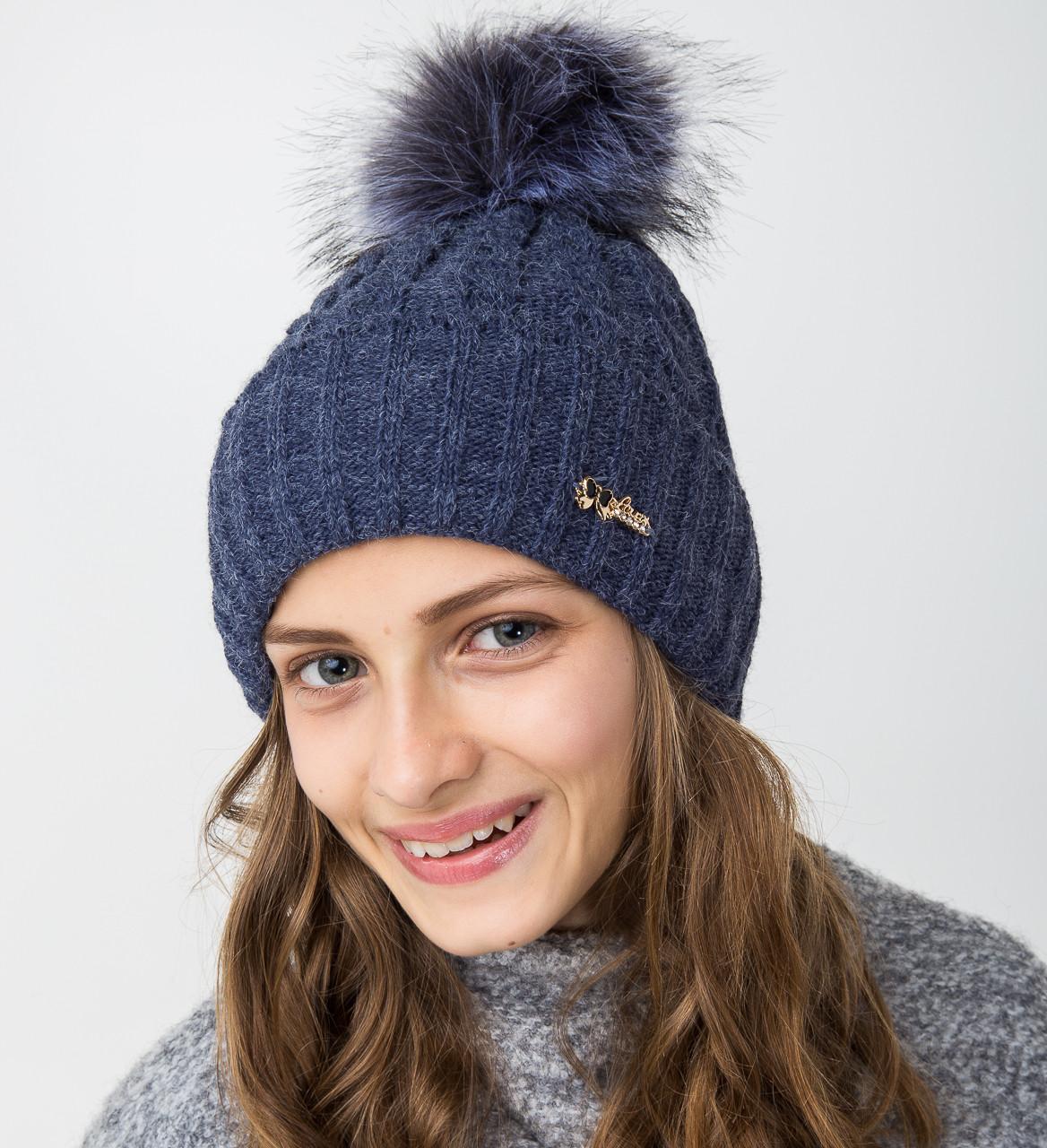 Вязанная шапка с меховым помпоном для девочек - Артикул 2122-4