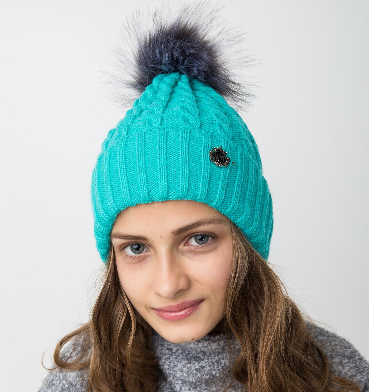 Модная вязанная шапка с меховым помпоном для девочек - Артикул 2122-6
