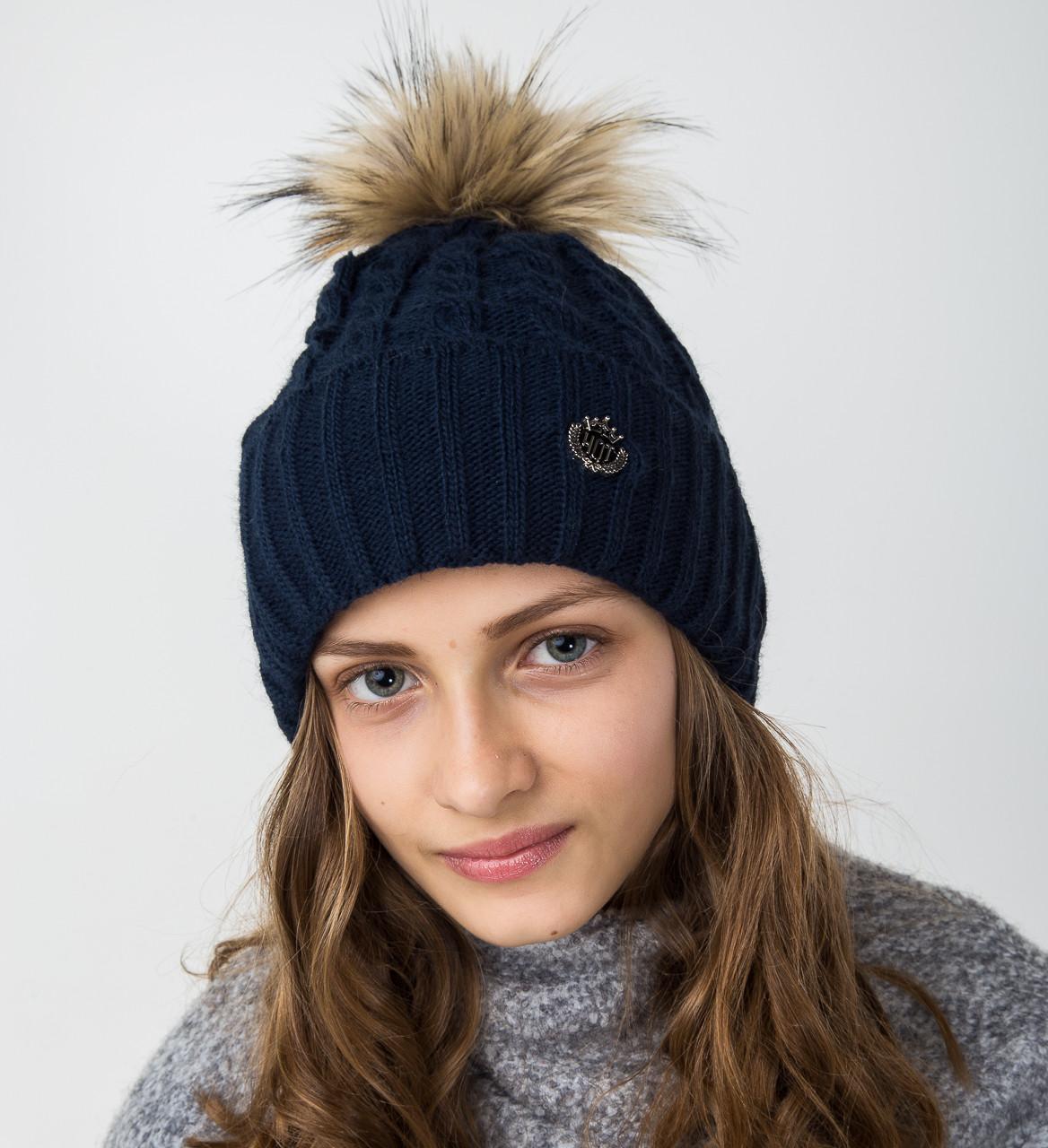 Синяя вязанная шапка с меховым помпоном для девочек - Артикул 2122-7
