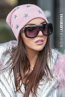 Женская теплая зимняя шапка в звезды