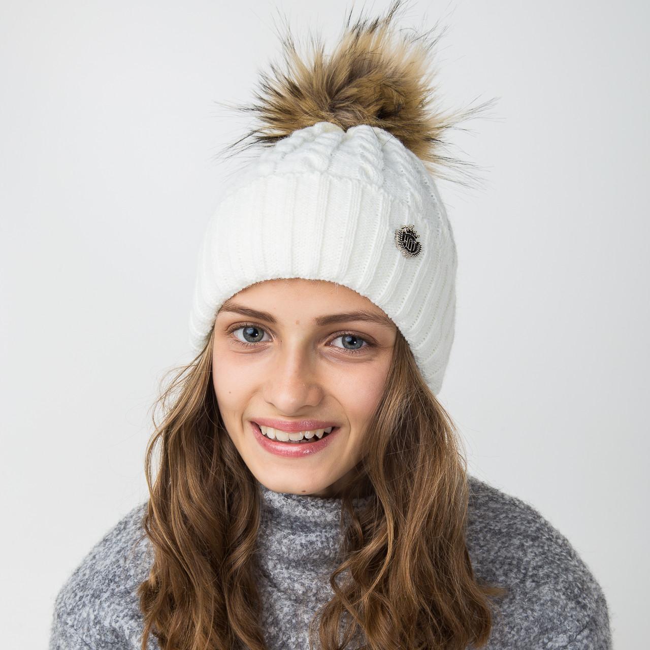 Нарядная вязанная шапка с меховым помпоном для девочек - Артикул 2122-8