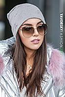 Женская теплая зимняя шапка в звезды2
