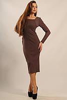Теплое приталенное платье Бетти длины миди из зимнего трикотажа - резинка 42-52 размер