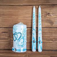 Набор свадебных свечей с голубым декором (арт. WC-008)