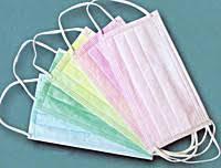 Маска медицинская 3-х слойная на резинке, 50шт/уп (цвета в ассортименте)  мятный