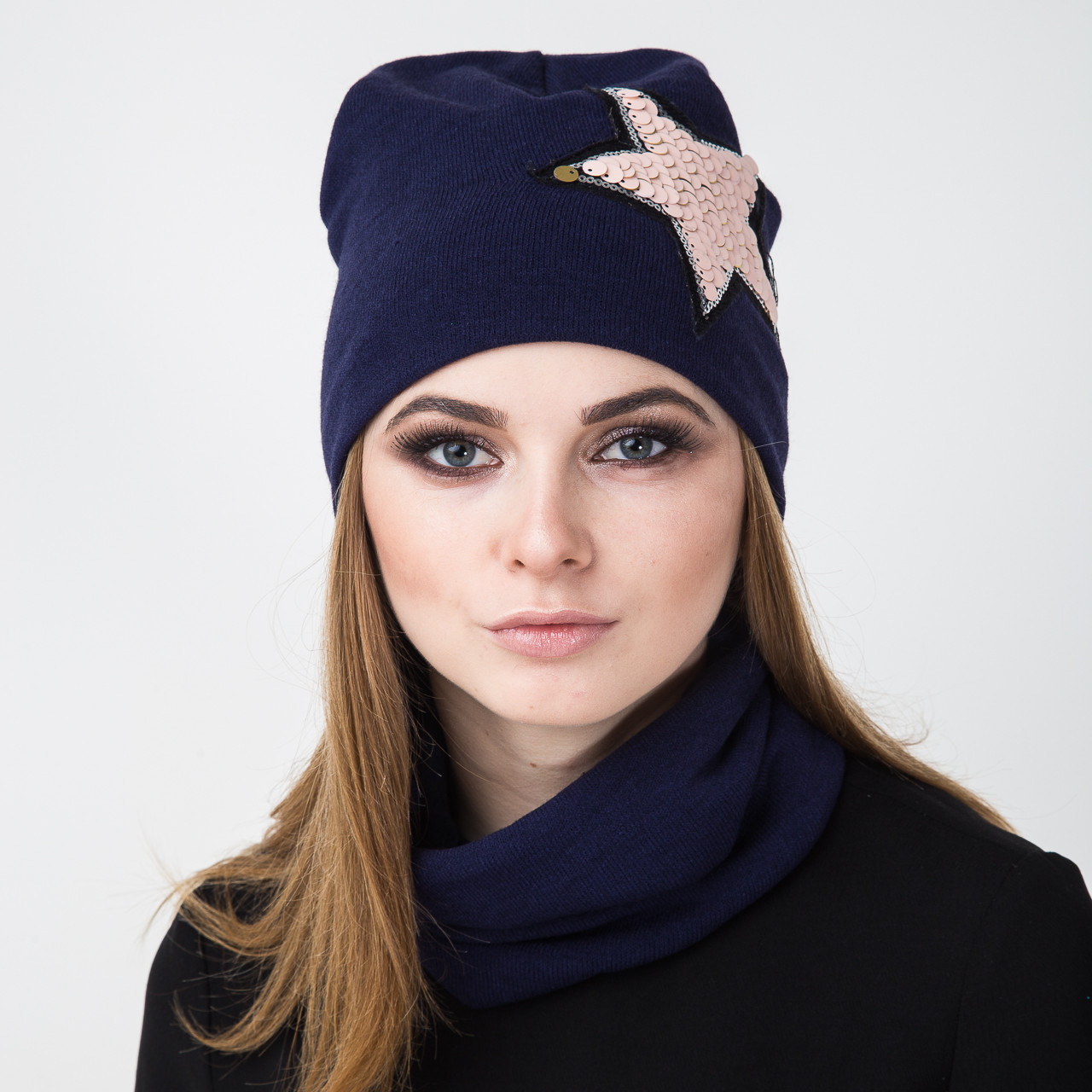 Зимний женский вязаный комплект (шапка + хомут) на флисе - STAR - Арт 2143