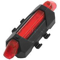 Фонарь велосипедный задний DC-918, USB, встроенный аккумулятор Li-ion, комплект, красный, фото 1