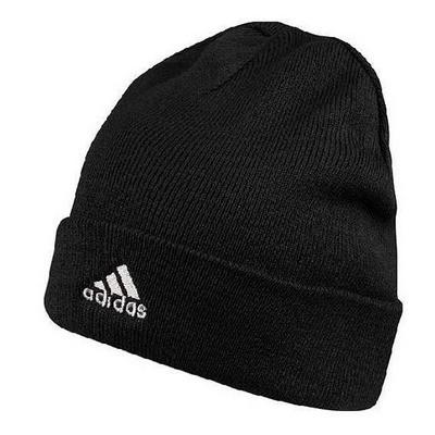 Шапка спортивная детская adidas ESS Corp Woolie E81742 (черная, с разворотом, акрил, с логотипом адидас)