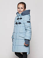 Стильное зимнее пальто на девочку Линда с митенками Размеры 110 - 152 голубой, фото 1