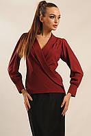 Классическая блуза Жанин свободного силуэта с запахом и шалевым воротником 42-52 размеры