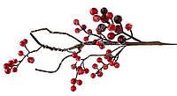 Декоративная ветка с красными ягодами 32см, декор на Новый год