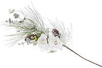 Декоративная ветка в инее 70 см с декором из белых цветов