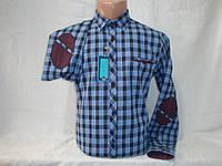 Мужская тёплая рубашка в клетку с налокотниками Fr. Varetti, Турция