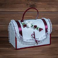 Сундучок для денег на свадьбу с бордовым декором (арт. WMB-010)
