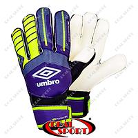 Вратарские перчатки с защитными вставками FB-879-3 Umbro (PVC, р-р 8-12, фиолет-салат-чер)
