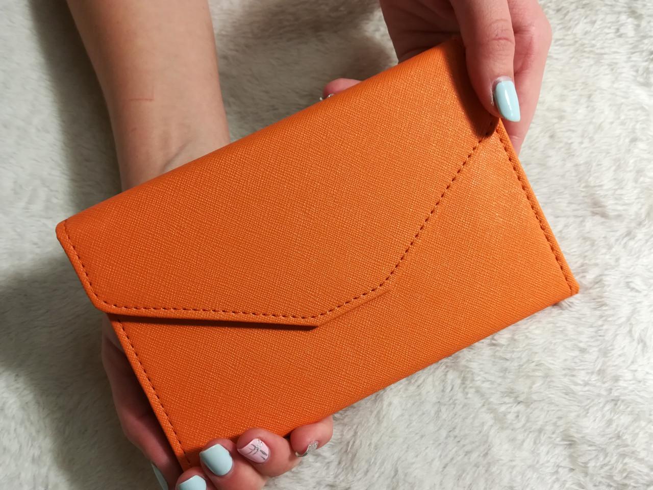Женский кошелек Клатч на кнопке оранжевый