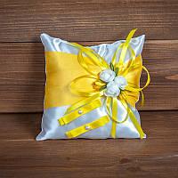 Свадебная подушечка для колец с желтыми лентами (арт. CR-009)