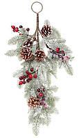 Т-образная декоративная ветка Хвоя в снегу 60 см с декором из шишек