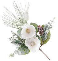 Декоративная ветка в инее 60 см с декором из белых цветов
