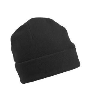Флисовая шапка с отворотом черная 7720-36
