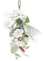 Т-образная декоративная ветка в инее 60 см с декором из белых цветов
