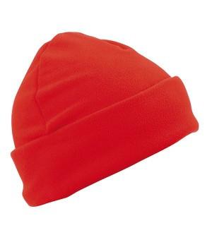 Флисовая шапка с отворотом красная 7720-40