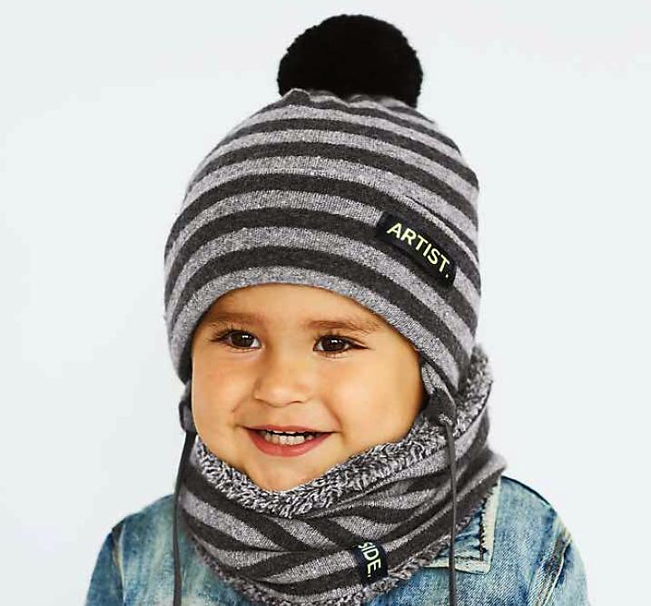 Детский комплект для мальчика шапка и хомут  ДЕМБОХАУС р-р  44