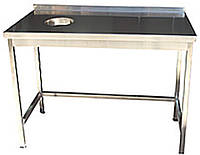Стол производственный для сбора пищевых отходов из нержавейки, размер 1000x500x850
