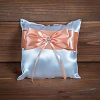 Свадебная подушечка для колец с персиковой лентой