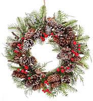 Новогодний венок из природных материалов 30см, декорация на Новый год