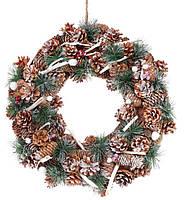 Новогодний венок из природных материалов 40 см, декорация на Новый год