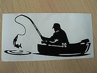 Наклейка vc Рыбак 170х80мм черная в лодке с удочкой рыбалка рыба на крючке виниловая контурная авто