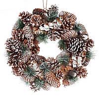 Новогодний венок из природных материалов 42 см, декорация на Новый год
