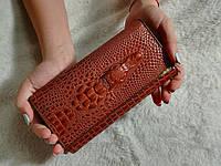 Женский кожаный кошелек на кнопке, красивый стильный современный, фото 1