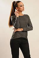 Стильна трикотажна блуза Шарлен з довгим рукавом на манжеті і фігурним низом 42-52 розміри, фото 1