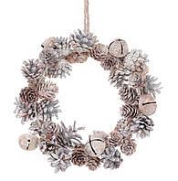 Венок из натуральных шишек 21 см, цвет - натуральный с патиной, декорация на Новый год