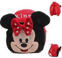 Оригинальный детский красный велюровый рюкзак Minnie, Минни Маус для девочки