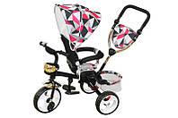 Велосипед qat-t017а (eva), 3-х колесный, красный с крышей, стальная рама, пенные колеса, поворотное кресло, корзинка