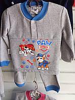 Детская серая пижама начес