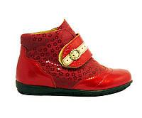Кожаные весенние ботинки на девочку 26, 27 красные