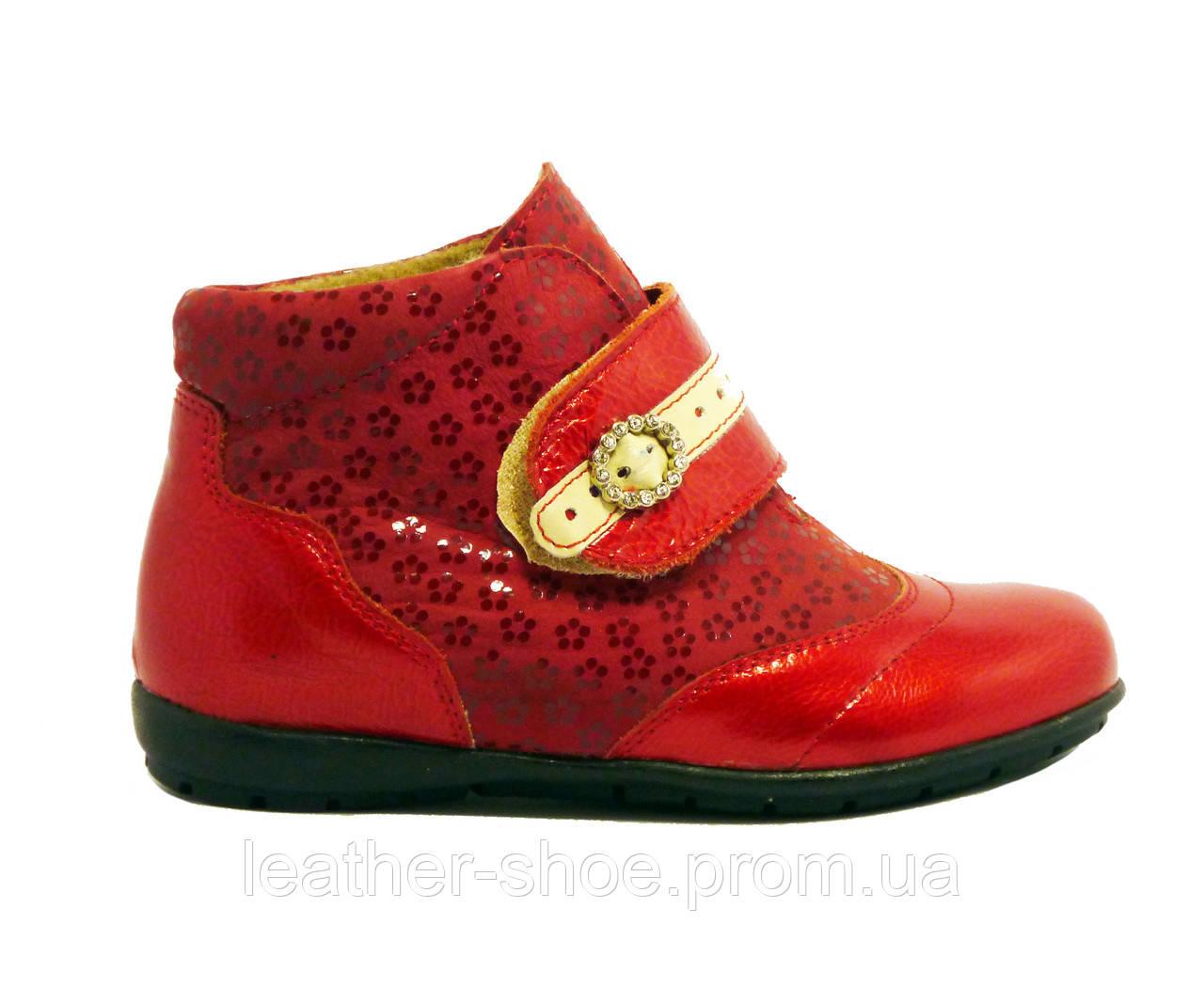 796d57d14 Кожаные весенние ботинки на девочку 26 красные - Интернет магазин
