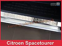 Накладки на пороги с загибом из нержавеющей стали Avisa на Citroen Space Tourer 2016