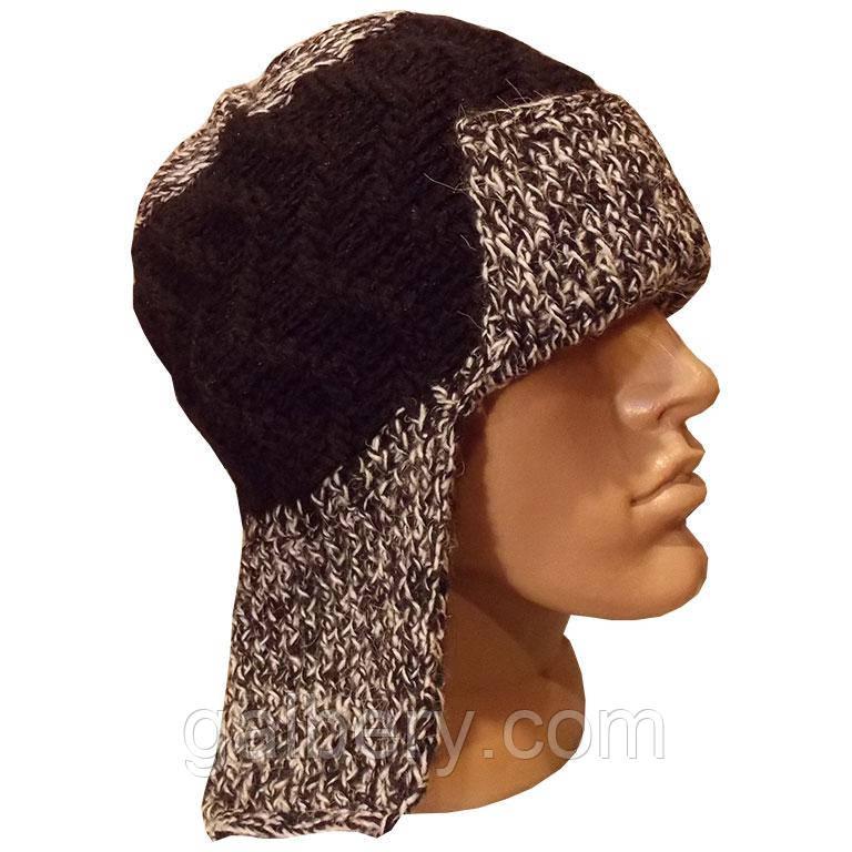 Мужская вязаная шапка - ушанка, объемной ручной вязки