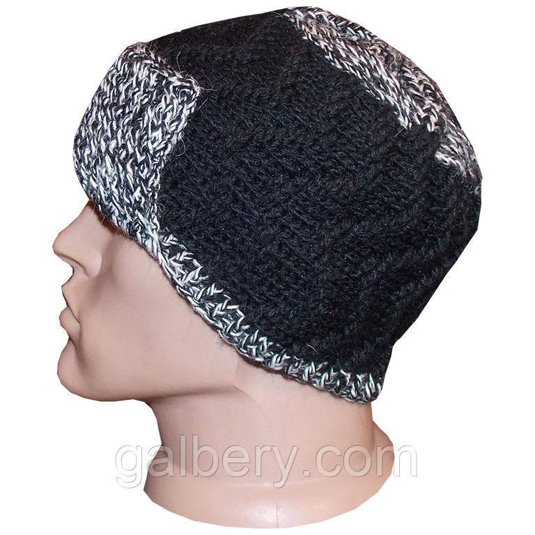 Мужская вязаная шапка с козырьком, объемной ручной вязки ...