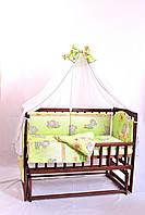 Постельный комплект в детскую кроватку 8-ми предметный, №2,1 (салатовый слон)