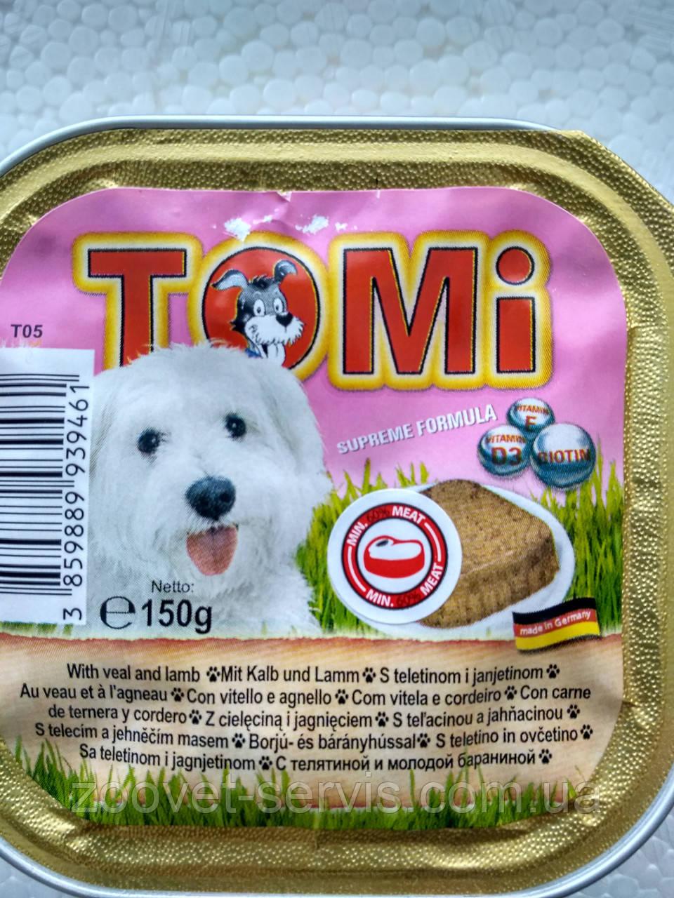 Консервы Томи (Tomi) для собак с говядиной и молодой бараниной